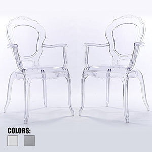 2xhome Set of Two (2) - CLEAR - Belle Style Ghost Armchairs - Poly-carbonate Plastic Modern Mid Century Art Deco Designer Dining Arm Chairs
