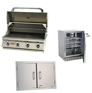 Bull Lonestar Natural Gas Barbecue Grill Head, Double Doors & Refrigerator