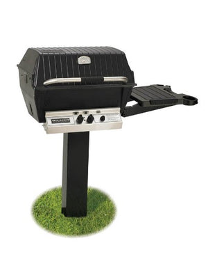 Broilmaster H4 Grill Package, Includes 2-Piece Black In-Ground and Side Shelf Post Natural Gas