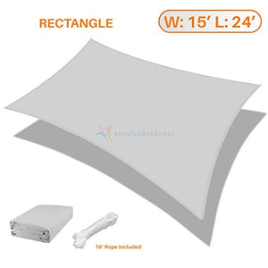 Sunshades Depot 15' x 24' Rectanlge Waterproof Knitted Shade Sail Curved Edge Light Gray/Light Grey 220 GSM UV Block Shade Fabric Pergola Carport Canopy Replacement Awning Customize Available