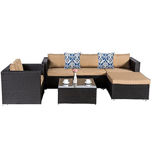 Cloud Mountain 6 Piece Rattan Wicker Furniture Set Outdoor Patio Garden Sectional Sofa Set Cushions Azule Pillows, Black