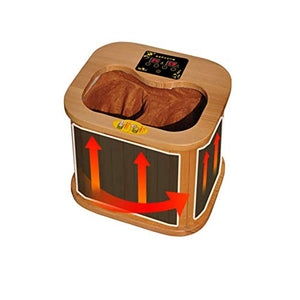 Far Infrared Foot Sauna Spectrum Therapy Barrel Full Automatic Massage Heating Barrel Canadian Hemlock Wood Portable Electric Indoor Infrared Heater Kit Detox at Home Room Heater Outdoor