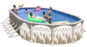 Allero Oval Above Ground Swimming Pool with Buttresses Package 33 ft. x 18 ft. x 52 in.