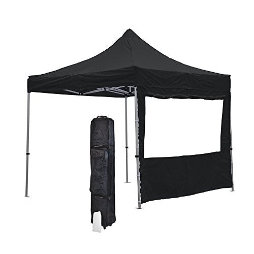 Vispronet Black 10x10 Economy Canopy Tent Kit - Includes Window Wall,  Canopy Storage Bag, and Stake Kit