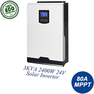 EASUN POWER Solar Inverter 2400w Pure Sine Wave 110V 80A MPPT 3Kva Off Grid Inverter By, MPPT Solar Charge Controller 24V 60A Battery Charger Solar Panels LCD Display Remote Control (MLV 3K)