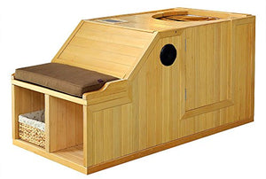 1 Person Half Sauna FIR FAR Infrared Heat 7 Carbon Heaters 141 Degrees 120V Hemlock Wood Portable
