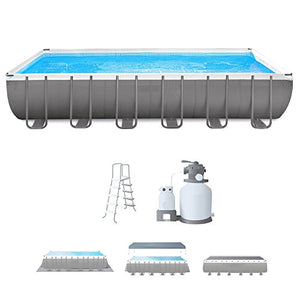 Steel Frame Pool With Filter Pump 24 FT Rectangular Above Ground Swimming Pool Sand Filter With Pool Ladder Ground Cloth And Cover Sturdy Durable Innovative Frame Debris Cover And eBook By NAKSHOP