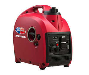 All Power America APG2000IS, 2000 Watt Compact & Quiet Portable Inverter Generator, Powered Gas Powered & Parallel Function Ready, 2000W Red