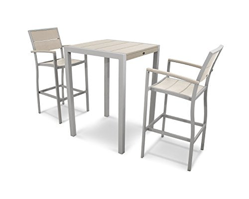 Trex Outdoor Furniture Surf City 3-Piece Bar Set in Textured Silver / Sand Castle