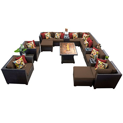 TK Classics Barbados 17Piece Outdoor Wicker Patio Furniture Set, Cocoa