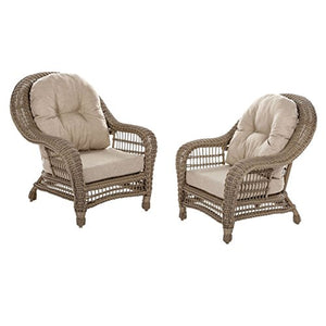 W Unlimited Saturn Collection 2x Patio Chairs Garden Patio Furniture Cappuccino Wicker Outdoor Furniture Beige Cushion Lounger Deep Seating