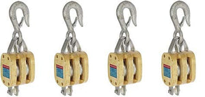 "16900101 4"" Double Wood Manila Rope Block with Hook, 1400 lbs Load Capacity, 1/2"" Rope, 2-1/4"" Sheave (4)"