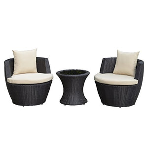 Outsunny Outdoor 3 Piece Patio Rattan Nesting Chair Conversation Set Garden -Dark Brown