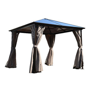ALEKO GZBHR03 Aluminum Hardtop Gazebo with Removable Mesh Walls 10 x 10 Feet Brown