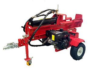 "50 Ton, 15HP Hydraulic Gasoline Powered Log Wood Splitter Cutter Machine, with 18GPM 2 Stage Pump and 7.5"" Splitting Wedge"