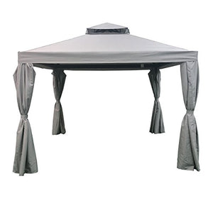 Great Deal Furniture Ishtar Outdoor 10' by 10' Water Resistant Fabric and Steel Gazebo, Gray
