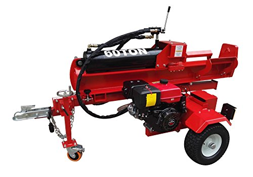 60 Ton Log Wood Splitter Hydraulic 15HP Gas Engine - 4 Way Splitting Wedge - Electric Start - Tow Hitch Package - 1 Year Parts Warranty