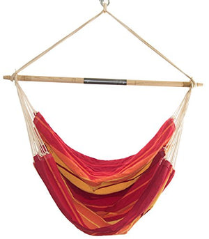 "Byer of Maine Brazil Gigante Hanging Hammock Chair, Indoors and Outdoors, Recycled Cotton/Polyester Blend Canvas, Handwoven, Lava Red, 78"" L X 55"" W, Holds up to 400lbs"