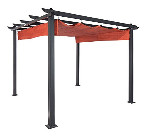 "Coolaroo 454609 Aurora Pergola Outdoor, 9'8""x9'8"", Terracotta"