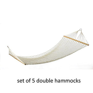 Decor and More Store Set of 5 Cotton Rope Two Person Double Hammock Garden Camping Cabin Seating Sleeping