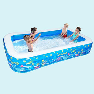 YUHAO Giant Inflatable Kiddie Pool - Family and Kids Inflatable Rectangular Pool(350x165x66cm)
