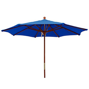 Sunbrella Outdoor 9Ft. Wood Market Umbrella in Pacific Blue by Comfort Classics Inc. Made in USA