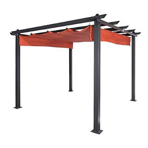 Metal Pergolas For Patios 9 Ft W x 9 Ft D Retractable Canopy - Skroutz Deals
