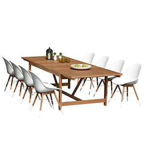 Brampton Eucalyptus 9-pc Patio Dining Set, White