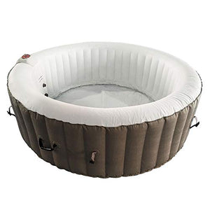 ALEKO HTIR6BRW Round Inflatable Hot Tub Spa with Cover 6 Person 265 Gallon Brown and White