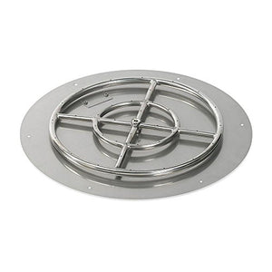 "American Fireglass SS-RFPKIT-N-24 Natural Gas 24"" Round Stainless Steel Flat Pan with Spark Ignition Kit (18"" Ring Burner Included)"