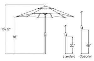 9-Foot Treasure Garden (Model 810) Deluxe Auto-Tilt Market Umbrella with Bronze Frame and Obravia2 Fabric: Sunset