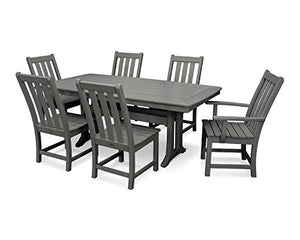 Vineyard 7-Piece Nautical Trestle Dining Set (Slate Grey)
