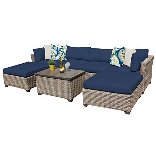 TK Classics MONTEREY-07b-NAVY Monterey 7 Piece Outdoor Wicker Patio Furniture Set, Navy