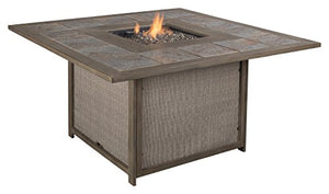 Ashley Furniture Signature Design - Partanna Square Fire Pit Table - Outdoor - Rust Free Aluminum - Includes Glass Beads & Burner Cover