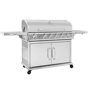 Royal Gourmet Pre-assembled Stainless Steel 6-Burner Propane Gas Grill with Infrared Burner