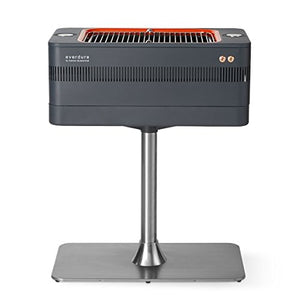 Everdure Fusion Charcoal Grill with Pedestal and Rotisserie (HBCE1BSUS), 28.75-Inches