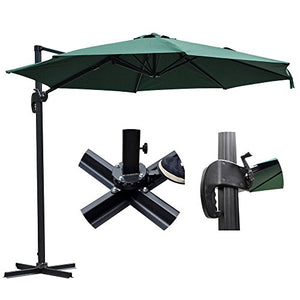 10 Feet Rome Outdoor Patio Umbrella Cantilever Hanging Offset Crank Tilt Pedal UV30