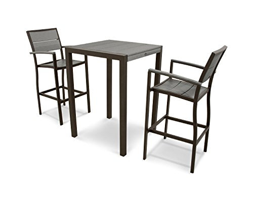Trex Outdoor Furniture Surf City 3-Piece Bar Set in Textured Bronze / Stepping Stone