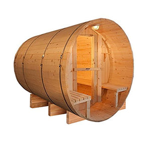 ALEKO SB5CEDARCP Rustic Red Cedar Indoor Outdoor Wet Dry Barrel Sauna and Steam Room with Front Porch Canopy 4.5 kW ETL Certified Heater 5 Person 71 x 72 x 75 Inches