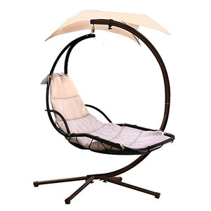Hanging Chaise Lounger Chair Arc Stand Air Porch Swing Hammock Dream Chair with Canopy (beige)