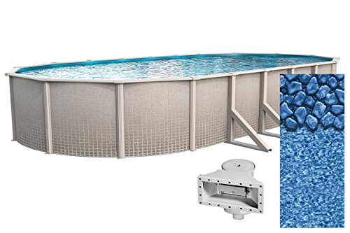 Wilbar 12-Foot-by-18-Foot Oval Impressions Above-Ground Swimming Pool |  48-Inch Height | Boulder Swirl Overlap Liner and Wide mouth Skimmer Bundle  | ...