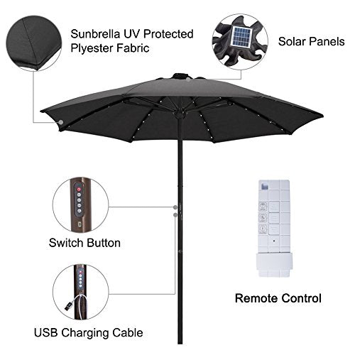 SORARA Outdoor 9 ft Patio Umbrella Sunbrella Canopy Solar Powered 64 LED Light with USB Charger Automatic Opening Market Table Umbrella, 8 Ribs, Black