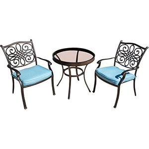 "Hanover Traditions 3 Piece Bistro Set in Blue with 30"" Glass-top Table"