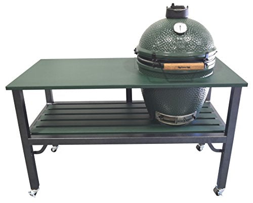 RMP - Universal Powder Coated Steel Tabletop Grill Cart, Fits Large Big Green Egg Grill, With Rotating and Locking Wheels