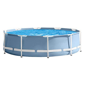 LZTET Round Prism Frame Swimming Paddling Pool Collapsible with Filter Pump Family Lawn Garden for Kids Adult Fun Gift - Removable 305 X 76 cm (10 Ft X 30 Inch -Gray)