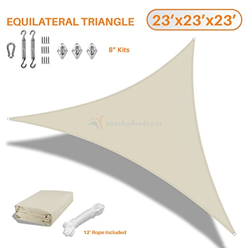 Sunshades Depot 23'x23'x23' Equilateral Triangle Waterproof Knitted Shade Sail With 8 inch Hardware Kit Curved Edge Beige 220 GSM UV Block Pergola Carport Awning Canopy Replacement Awning