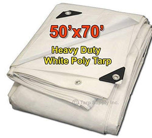 50'x70' Heavy Duty 12 by 12 Cross Weave 8-10 Mil White Poly Tarp with Grommets Approx Every 18 Inches All Around, Corner Solid Plastic Bar Reinforcement for Extra Strength