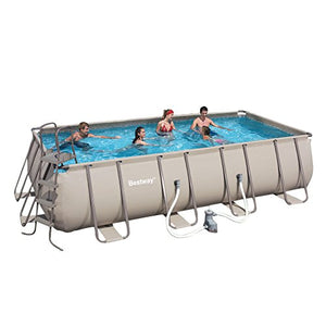 BESTWAY Pools 56167 Steel Pro Rectangular Frame Pool with Pump, 18-Feet by 9-Feet by 48-Inch, Silver