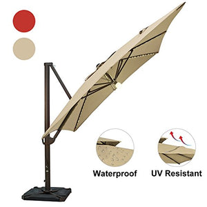 SORARA 10 by 10-Feet Offset Cantilever Umbrella Square Outdoor Patio Hanging Umbrella with Center Light, Cross Base & 4 pcs Base Weight and Umbrella Cover, Beige