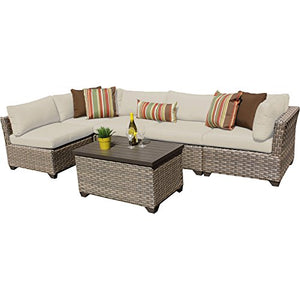 TK Classics Monterey 6 Piece Outdoor Wicker Patio Furniture Set 06a, Beige